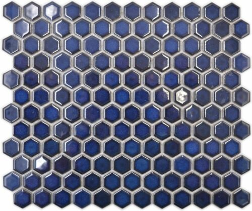 Céramique Mosaïque Carreau hexonoptik Kobaltblau Brillant Mur11h-0444 10 Tapis