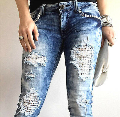 cutout JEANS DESTROYED RIPPED DISTRESSED WOMEN SKINNY SLIM STONES sz 27