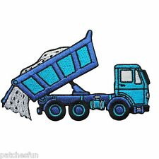 Truck Blue Dump Dumpers Tip Tipper Lorry Farm Tractor Kids Iron on Patches #1435