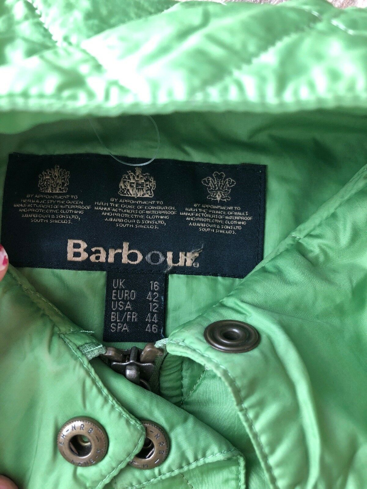 61. Barbour Belted  Quilted womens Lime   Green p… - image 2