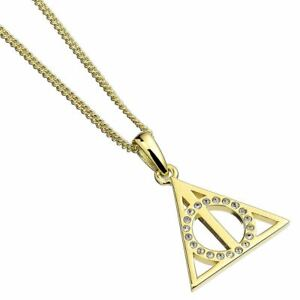Deathly Hallows Gold Plated Sterling Silver Necklace with Crystals - Boxed