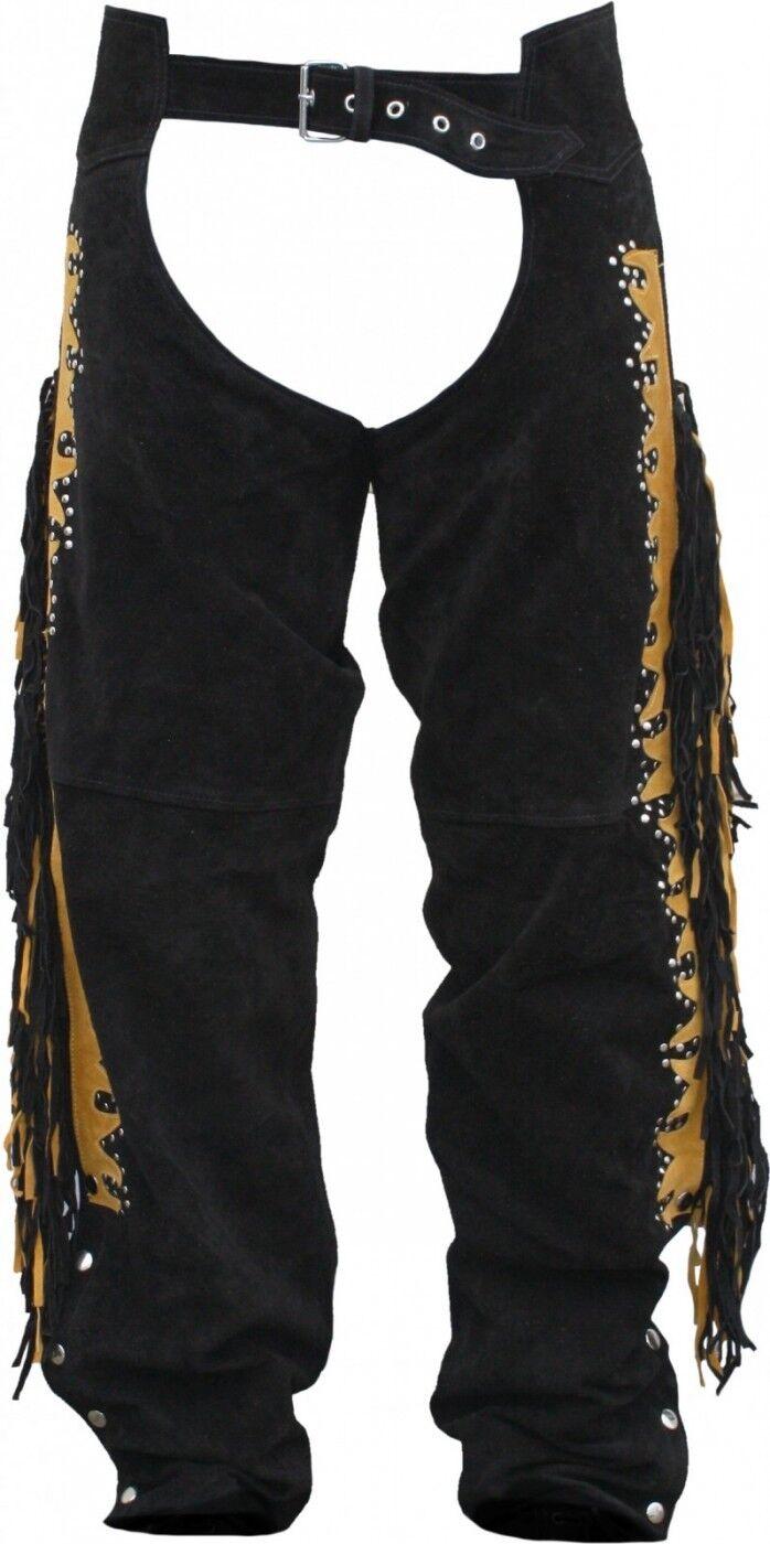 Chaps Fransenhose Reiter Cowboy Indianer Western Lederchaps Lederhose black