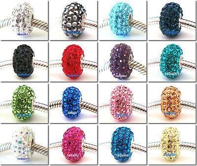 925 Sterling Silver Czech Crystal CZ Round Bead Fit European Charm Bracelet