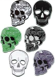 Skull-skeleton-goth-punk-biker-horror-applique-iron-on-patch-your-choice-SK-3