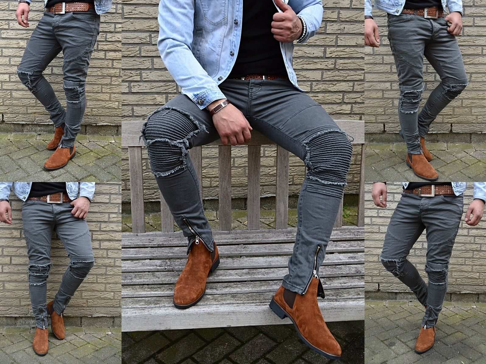 74ed46a9 Young Fashion Destroyed Zipper Men's UK Style Skinny Fit Men Tube Jeans  Trousers