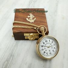 Antique Brass Pocket Watch HMT Mechanical Automatic Necklace Chain Collectible