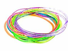 Girls Card of 12 Glitter Gummy Jelly Rubber Bangles Bracelet Wristband Dress Up