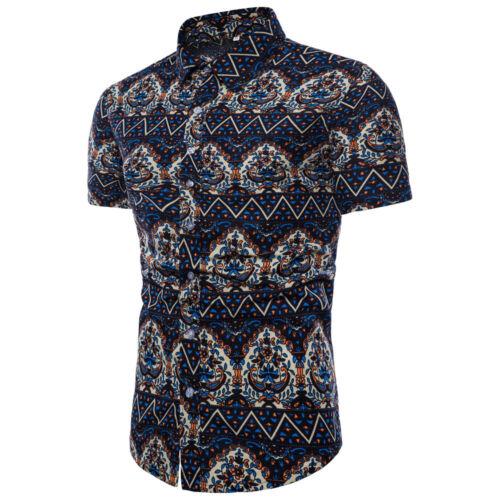 Fashion Men/'s Hawaiian Shirt Floral Beach Short Sleeve Casual Shirts Tops M-5XL