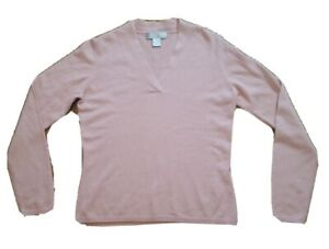 Details about McDuff Cashmere Pullover Sweater Size L 100% Cashmere Pink Finest Yarns V Neck