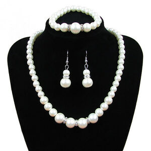 1 Set Fashion Womens Silver Plated Pearl Pendant Bracelet Necklace Jewelry Set