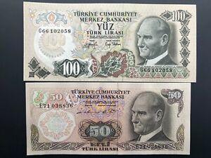 Turkey-Banknote-Lot-2-PCS-50-amp-100-Lira-Banknotes-50-100-Turkish-Lira-UNC