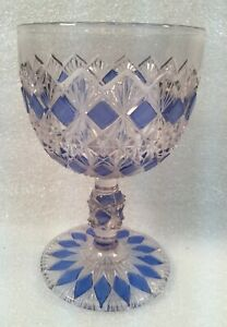 Clear-Glass-Water-Goblet-w-Blue-Diamond-Shaped-Accents