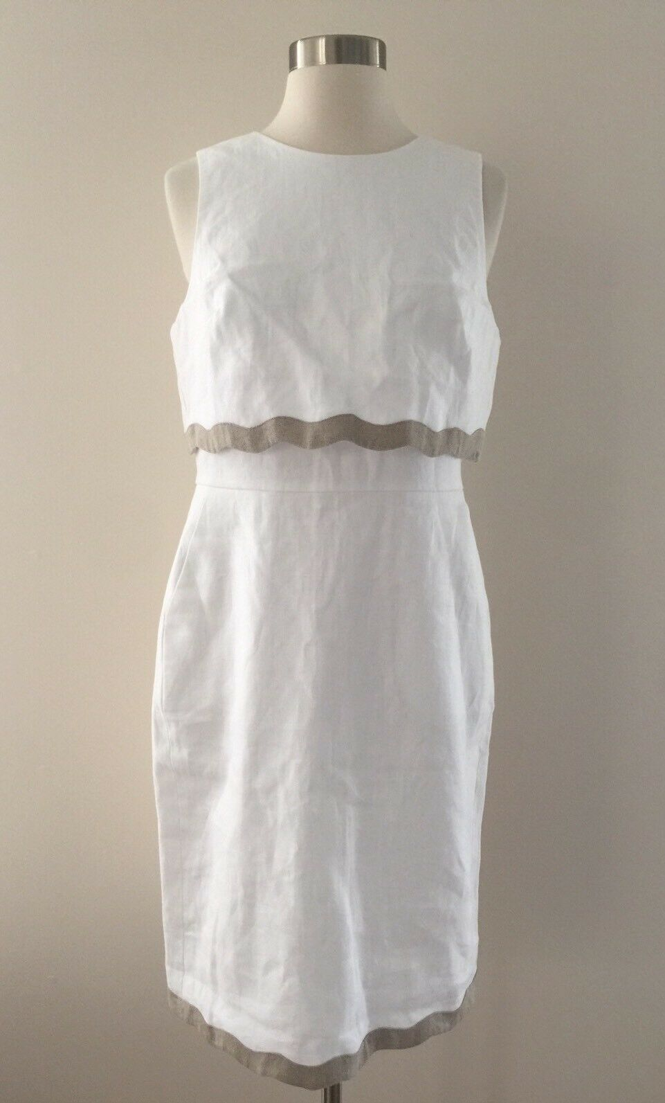 NEW JCrew Going Places Dress in Linen G4446  Weiß Natural Sz 6 SU'17