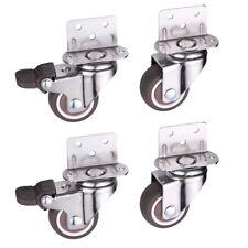 """4 Pack 1.5/"""" Locking Swivel Caster Wheels U Bracket Brake Castors Heavy Duty Mute"""
