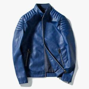 New-Men-039-s-Slim-fit-jacket-stand-collar-Biker-Motorcycle-PU-Leather-Jacket-Black