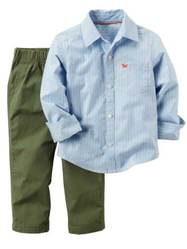 Carters Infant /& Toddler Boys 2PC Outfit Stripe Blue Shirt /& Green Pant Set