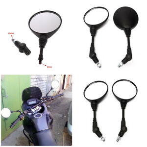 Black-Durable-Round-Folding-Motorcycle-Bike-Rear-View-Side-10mm-Thread-Mirrors