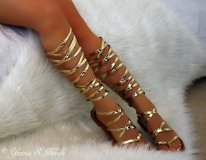 Rose gold Strappy Open Toe Knee High