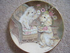 Royal Worcester England Porcelain cat-dog plate, Puppy Love