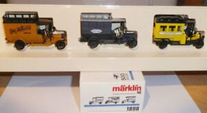 Marklin-1898-H0-Set-3-X-Oldtimer-Postwagen-el-Epoche-1-Neuwertig-en-Ovp-Metal