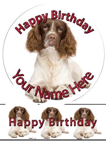 Edible Round Cake Topper Spaniel Dog Birthday Wafer sheet icing sheet.968