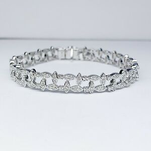 Cheap Sale Estate 10k White Gold Over Round Brilliant Cut Diamond Tennis Bracelet 0.50 Cts Jewelry & Watches Fine Bracelets