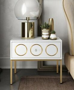 Anthropologie Replica Rondure Accent Table Nightstand White Lacquer