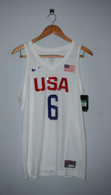 reputable site 7927a fb3c1 Men's Authentic NlKE USA Basketball Vapor #6 LeBron James Jersey White