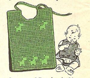 Filet Crochet Baby Bib Patterns : PRETTY Baby Bib in Filet/Crochet Pattern INSTRUCTIONS ONLY ...