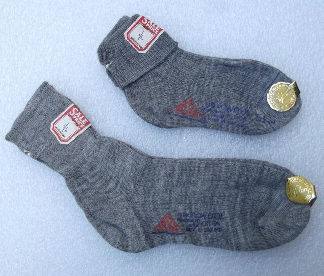 TRESCO grey ankle socks vintage 1950s UNUSED girls nursery school wool cotton
