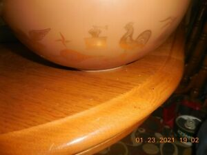 VTG 4 qt Pyrex Mixing Bowl Brown Gold Americana with Rooster and Eagle &1 1/2 PI