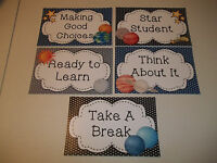 5 Laminated Solar System Behavior Clip Chart Cards. Classroom Accessories.
