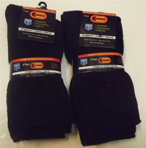 Men/'s Diabetic Socks 6 Pairs Of Black Customer Favorite Size 10-13 New With Tags