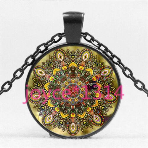 Vintage Mandala Cabochon Black Glass Chain Pendant Necklace HS-4523
