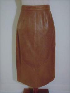 Vintage 70s 80s Bermans Chocolate Brown Buttery Soft Leather Lined Long Skirt 12 by Berman's