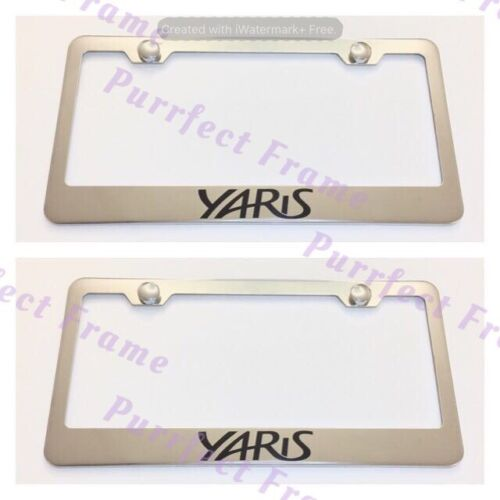 2X YARIS Stainless Steel License Plate Frame Rust Free W// Boltcap