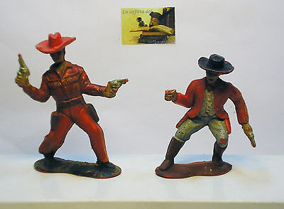 2 Soldatini Toy Soldiers Crescent Toy Cowboys Plastica Scala 1:32
