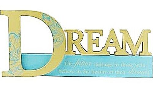 """BIG WOODEN INSPIRATIONAL """"DREAM"""" SIGN CUTOUT TABLE TOP WORD LETTERS 35*15CM BLUE"""