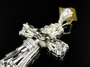 Diamond Cross Crucifix Pendant 1//5ct 10k White Gold