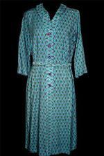 Rare Vintage Deadstock 1950'S-1960'S Blue Print Rayon Gabardine Dress Size 8+