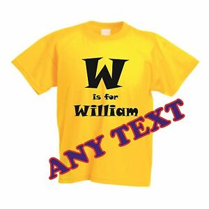 Personalised-children-T-shirt-in-bright-colours-GIFT-100-Cotton-Crew-Neck