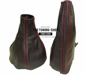 RED STITCH LEATHER GEAR GAITER FITS VAUXHALL TIGRA TWINTOP 2004-2009