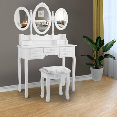 3Mirror & 7Drawer White Vanity Makeup desk Dressing Table Set Bedroom  Vanity set 657228145572 | eBay