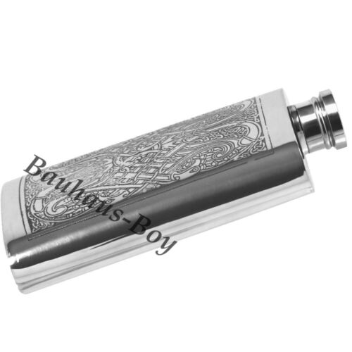 HIP FLASK PEWTER CELTIC KNOTWORK HIGHLAND 4oz CAPACITY MADE IN UK GIFT BOXED NEW