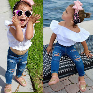 Das Bild wird geladen Baby-Maedchen-Kinder-bauchfrei-Behaelter-Top-T-Shirt- 7a8d64353f