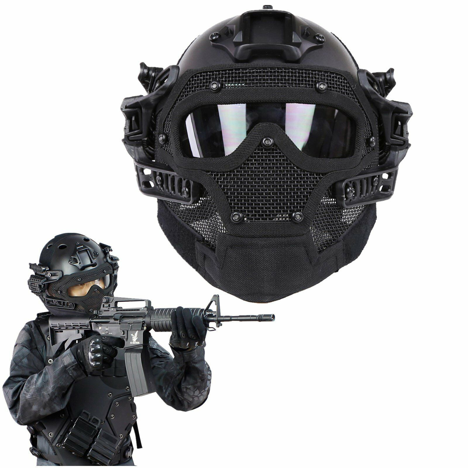 Military Tactical Airsoft Paintball Combat Helmet Face Mask Goggles G4 System