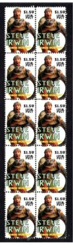 STEVE IRWIN CROCODILE HUNTER TV SERIES STRIP OF 10 MINT VIGNETTE STAMPS 1
