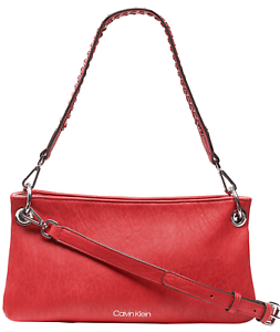 Calvin-Klein-H8GHZ6UK-Raya-Demi-Red-Shoulder-Bag-Women-039-s-Handbag-New
