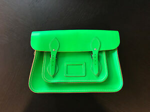 077310a45edfb The Cambridge Satchel Company Neon Green Leather 14 Inch Crossbody ...