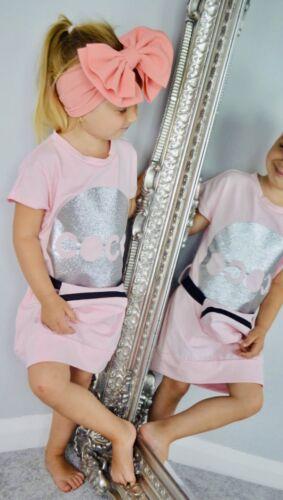 Girls Dress and bum bag COCO pink silver age 4-14  fashion t-shirt dress summer